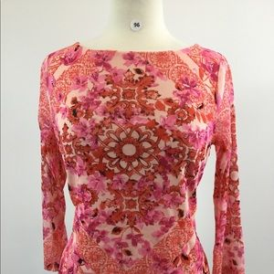 Charter Club Floral Pink Shirt Size M (B-96)